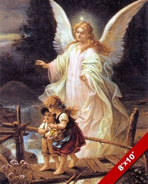 GUARDIAN ANGEL WATCHING OVER KIDS PAINTING BIBLE CHRISTIAN