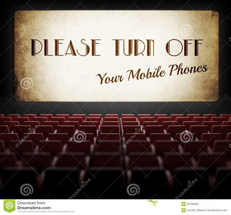 Please Turn Off Cell Phones Movie Screen In Old Cinema