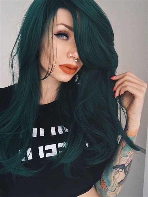 Forest green long straight wig with fringe | Forest by
