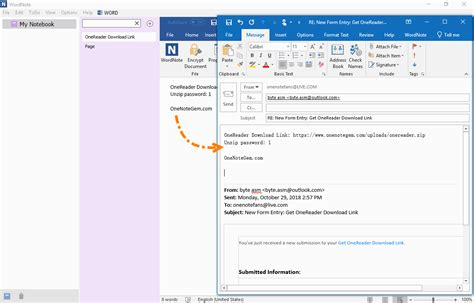 Reply Outlook Email with WordNote Page - Gem WordNote